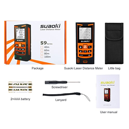 suaoki s9 198ft portable laser distance measure laser measure with 2 bubble levels pythagorean. Black Bedroom Furniture Sets. Home Design Ideas