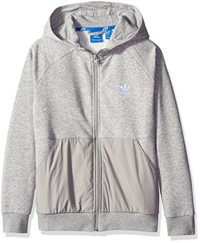 adidas Originals Boys' Active Zip Hoodie, Medium Grey Heather Luxe, X-Large
