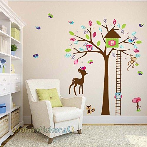 -sticker4u-da-parete-motivo-albero-con-animali-per-bambini-gufo-scimmia-uccellino-casetta-per-uccell