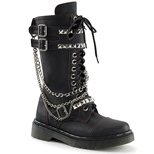 Womens Black Vegan 1.25'' Heeled Punk Boots with Chains and Stud Detail
