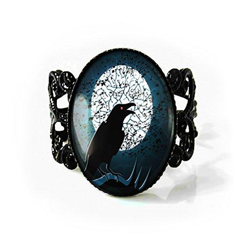 Jet Black Raven Nevermore Filigree Gothic Crow Horror Ring