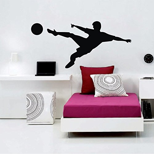 """Colorfulhall 46.06"""" X 22.04"""" Black Color Sport Wall Art Decal Stickers Volley Football Wall Decor Teenager Room Wall Decal Sticker front-665868"""