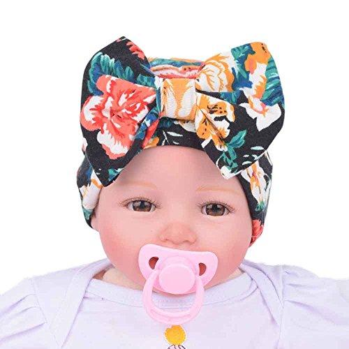 Baby Hat, Yasalu Newborn Baby Hospital Hat With Bowknot Flower (Black) (Make Maleficent Horns)