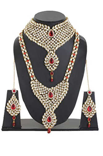 Bling N Beads 18K Gold Plated Bridal Necklace Set with Mang Tikka Hathphool Nath Perfect Gift For Her Wedding