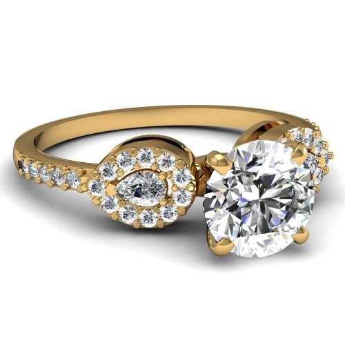Fascinating Diamonds 1.10 Ct Round & Pear Shaped Diamond Engagement Ring Pave Si1-G Cut: Ideal 14K Gia