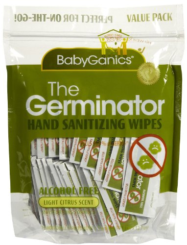 Babyganics Alcohol Free Hand Sanitizer Wipes, Light Citrus Scent, 75-Count