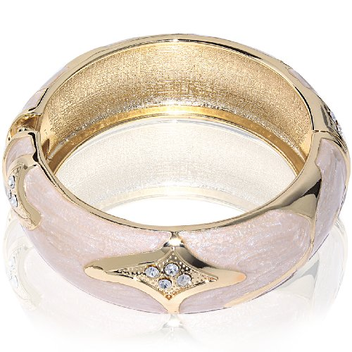 Hinged Bangle Bracelet-Beige with CZ stones & metal accent