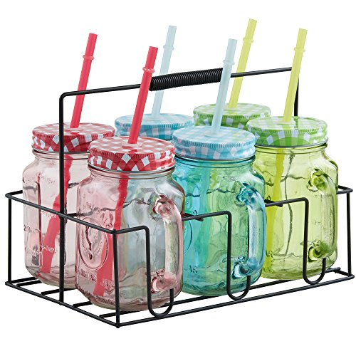 VonShef Set of 6 Colored Mason Glass Drinking Jars & Carrier with Reusable Straws, Lids & Handles (6 Glass Jars compare prices)