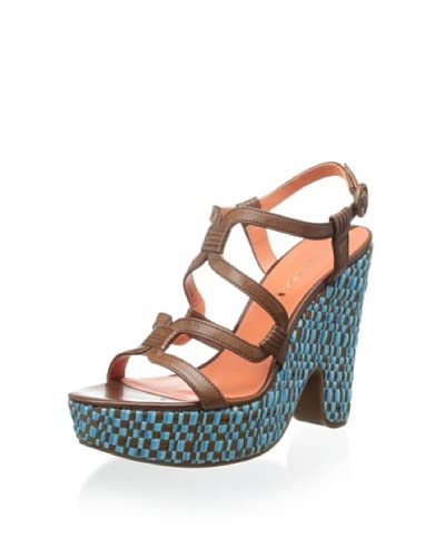 Via Spiga Women's V-Cai Wedge Sandal  [Tobacco/Turquoise]