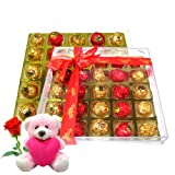 Delectable Flavours Special Gift Chocolate Box With Teddy And Rose - Chocholik Luxury Chocolates