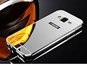 GnG Metal Bumper Cum Acrylic Mirror Glass Luxury Back Case Cover Compatible TO Samsung Galaxy J2 -(silver)