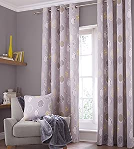 Kalmar Leaf Grey Yellow 90x90 Lined Ring Top Cotton Blend Curtains #idnaks *tur*