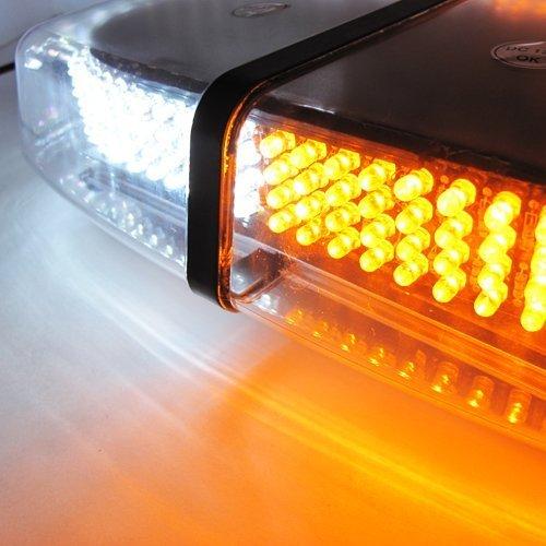 Dual Color White / Amber 7 Patterns Emergency 240-LED Security Warning Mini Light Bar Strobe Light (Xotic Colours)