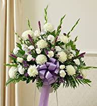 1-800-Flowers – Heartfelt Sympathies Lavender Standing Basket – Medium