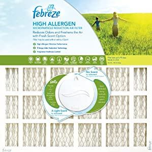 Febreze AFFB2025 High Allergen Microparticle and Odor Reduction Air Furnace Filter, 4 Pack, 20-Inch by 25-Inch