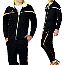 Fuerza Mens Premium Material Knit Training Warm Up Tracksuit - Black (Small)