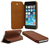 Iphone 5,5S,SE Slim Case, Belfen Soft Genuine Leather Flip Case with Slim style, Stand Feature for Apple iPhone 5 / iPhone 5S / iPhone SE - Brown