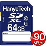 SDXCカード 64GB HanyeTech UHS-Iスピードクラス1 超大容量90MB/S クラス10 class10 ハイビジョン録画対応 並行輸入バルク品