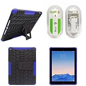 DMG Heavy Duty Mesh Protection Dual Layer Back Cover Case with Kickstand for Apple iPad Air 2 (Blue) + 2600 mAh Power Bank