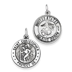 Sterling Silver St.Christopher US Marine Corp Medal