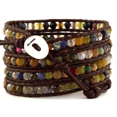 Chan LuuChan Luu Multi Stone Wrap Bracelet on Brown Leather