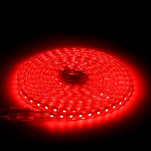 SUPERNIGHT 5m 5050SMD 110V High Voltage LED Strip Light Outdoor LED Rope Light IP67 Waterproof Outdoor String Light Festival Wedding Party Christmas Halloween Decorative LED Lighting - Red (Halloween Decorations Garage Door)
