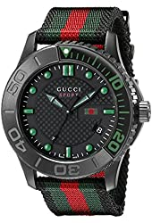 Gucci Men's YA126229 G-Timeless Black Stainless Steel Watch with Striped Nylon Band