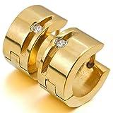 Aooazジュエリー ステンレスメンズイヤリング ホワイト CZ ゴールド 研磨 スタッド フープ イヤリング 結婚式 好きなメッセージが刻印できる