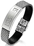 AnaZoz Men's Fashion Bracelet PU Leather Vintage Sculpture Stainless Steel Buckle Black 19CM Long