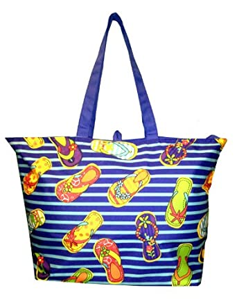 Oversized Beach Bag Tote with Zipper Closure (Flip Flop Print)