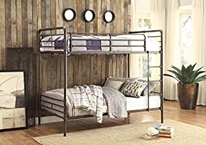 Homelegance Chaney Metal Bunk Bed Twin Over Twin Modern Industrial Design Bunk Bed, Antiqued Bronze