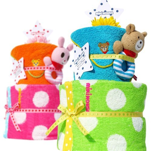 Choose diaper cake mikihouse Miki House Deluxe two-stage with rattle girl Ver popular brand diaper cake pampers S (Pink)