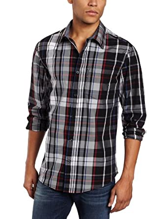 ecko unltd. Men's Stockbridge Long Sleeve Plaid Shirt, Black, 3X-Large