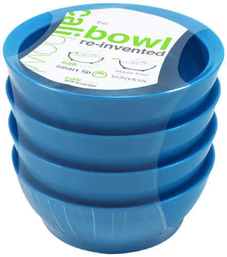Calibowl Non-Spill Low Profile Bowl with Non-Slip Base, 28-Ounce, Light Blue, Set of 4