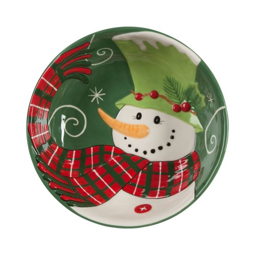Fitz And Floyd Holly Hat Snowman Serving Bowl