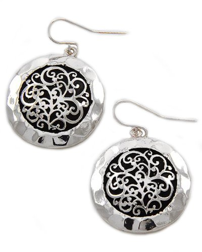 Antique Silver Tone Metal Filigree Dangles Fish Hook Earrings