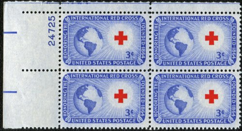 #1016 - 1952 3c International Red Cross Postage Stamp Numbered Plate Block (4)