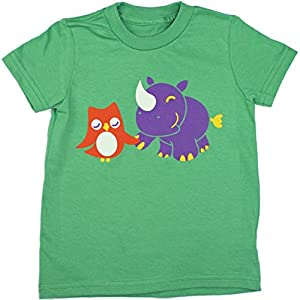 Jessy & Jack Gender-Neutral Kids' Owl and Rhino Toddler T-shirt 3-4T Grass