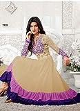 New Heavy Kriti Sanon Cream & Violet Long Length Designer Anarkali Suits- Free Size