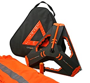 CrashFlasher Roadside Safety Kit with Tall Emergency Light, Safety Vest, Flashlight and Carrying Case with Orange Triangle