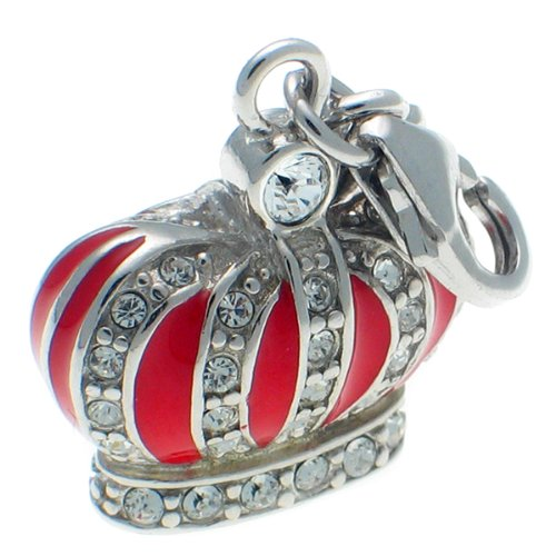 Welded Bliss Sterling 925 Silver Charm. Regal Crown CZ Gems & Enamel Detail, Clip Fit. WBC1293