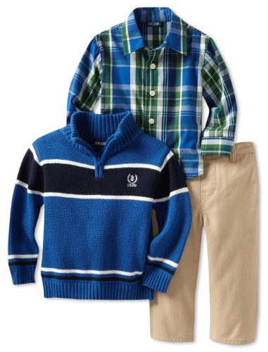 Izod Kids Baby-boys Infant Stripe 1/4 Zip Sweater