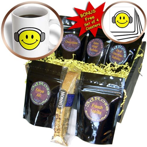 Cgb_118624_1 Dooni Designs More Random Cartoon Designs - Cute Smiley Face With Headphones - Coffee Gift Baskets - Coffee Gift Basket