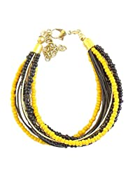 Beadworks Designer Yellow,Black & Golden Bracelet