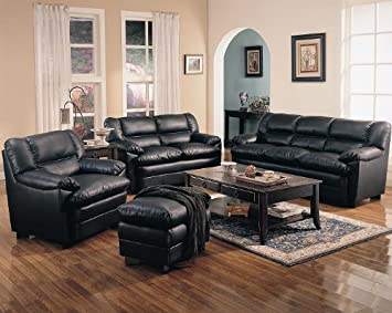 Inland Empire Furniture Rimo BlaCalifornia King Bonded leather Over Stuffed Pillow Top Sofa & Love Seat