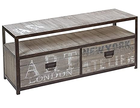 Mueble TV 2 Cajones Industrial 40 x 120 x 52 cm - LuxoMobel
