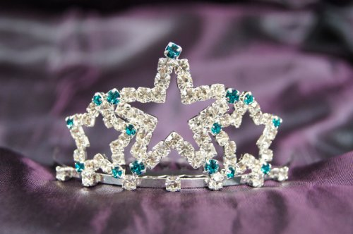 Beautiful+New+Bridal+Wedding+Tiara+Crown+W%2F+OceanBlue+Crystal+Star+DH15722c