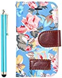 Apexel Calico Pattern Elegant Leather Wallet Case with Card Slots Holder for Samsung Galaxy Ace 4 G313 - Blue