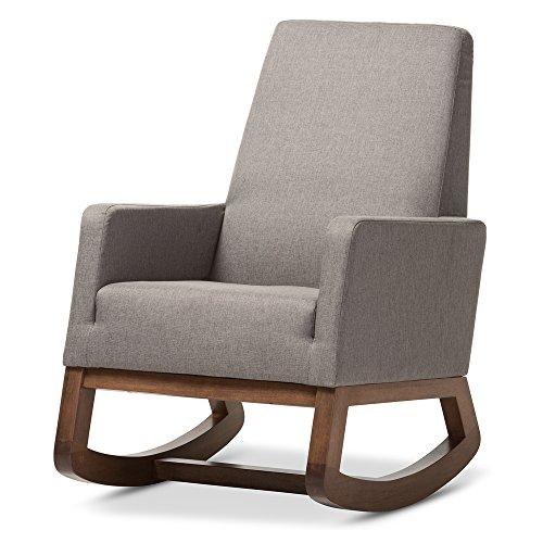 Baxton Studio Yashiya Mid Century Retro Modern Fabric Upholstered Rocking Chair, Grey 0