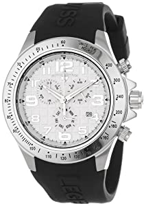 Swiss Legend Men's 30041-02S Eograph Chronograph White Grid Dial Black Silicone Watch